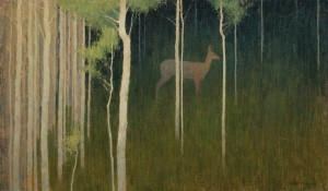 David Grossmann, Behind White Trunks, oil, 20 x 34.