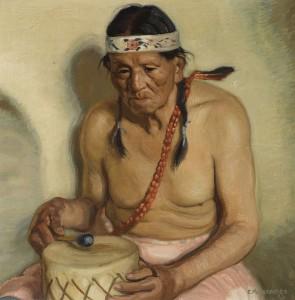 Ernest Martin Hennings, Taos Pueblo Indian, John Martinez, oil, 19 x 19, Bonhams.