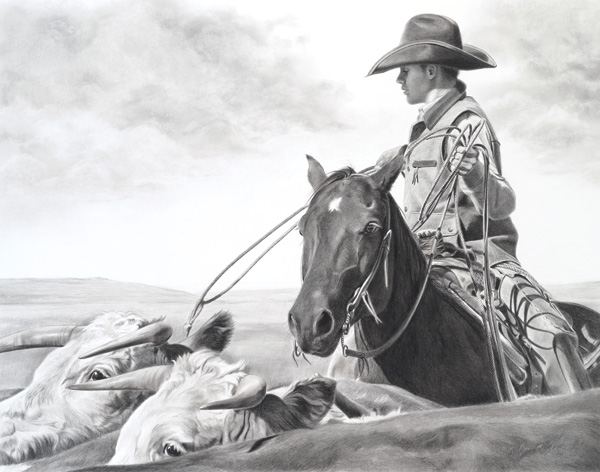 Mary Ross Buchholz, Branding Time, charcoal/graphite, 21 x 27.