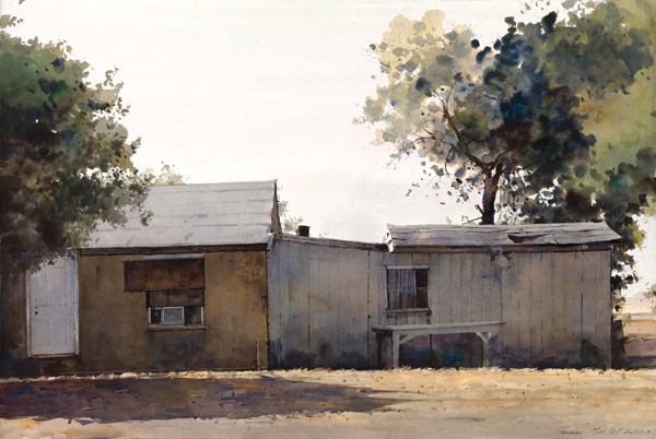 Dean Mitchell, Pima-Maricopa Reservation Dwellings, watercolor, 20 x 30.