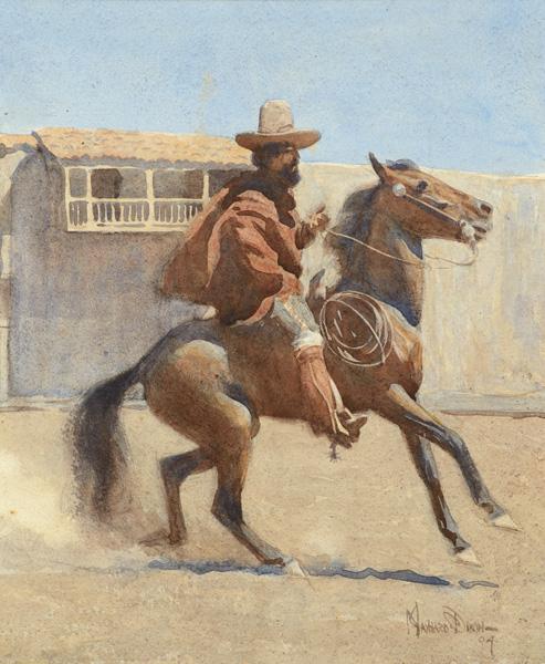 Maynard Dixon, Ranchero of Old California, watercolor 12 x 10, Coeur d'Alene Art Auction.