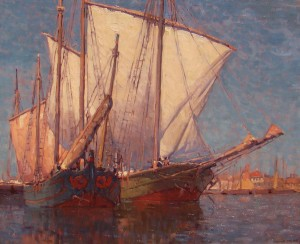 Edgar Payne, In the Canal, Chiogga, oil, 28 x 34, William A. Karges Fine Art.
