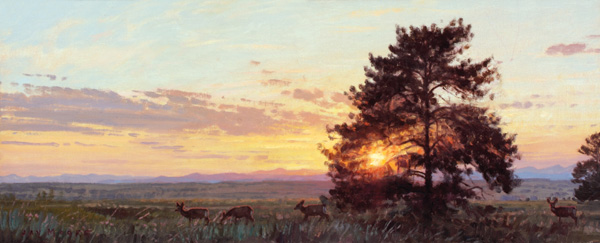 Jay Moore, Evening Light (study), oil, 10 x 24.