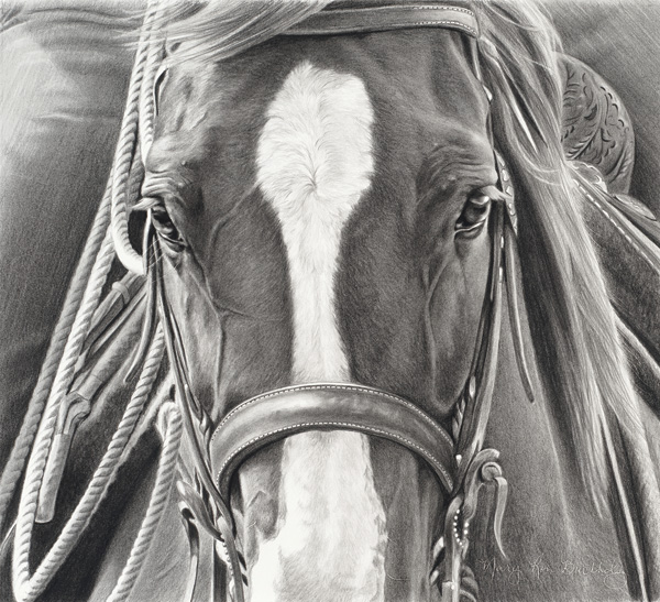 Mary Ross Buchholz, He's Ready, charcoal/graphite, 12 x 13.