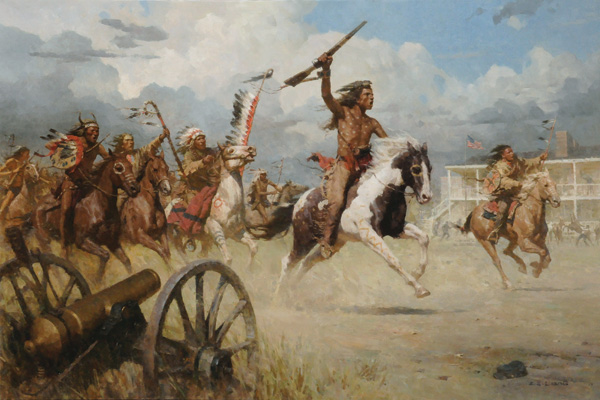 Z.S. Liang, The Charge of Crazy Horse on Fort Laramie, oil, 40 x 60, Coeur d'Alene Art Auction.