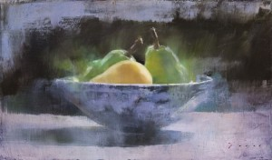 Douglas Fryer, Pears and Blue Bowl, oil, 9 x 15.