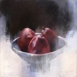 Douglas Fryer, Red Anjou Pears, oil, 12 x 12.