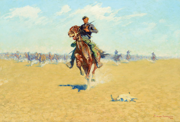 Frederic Remington, Cutting Out Pony Herds, oil, 27 x 40, Coeur d'Alene Art Auction.