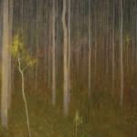 David Grossmann, Scattered Yellow Leaves, oil, 20 x 34.