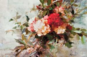Richard Schmid, Carnations, oil, 8 x 12, Jackson Hole Art Auction.