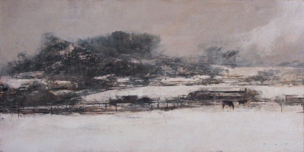 Douglas Fryer, Snow Squall in the Cedars, oil, 18 x 36.