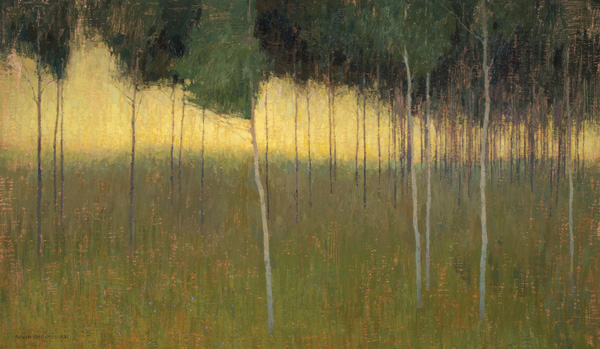 David Grossmann, Sunlight Behind the Aspen Grove, oil, 20 x 34.