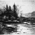 Jay Moore, Sunrise on the Roaring Fork, copperplate etching, 5 x 7.