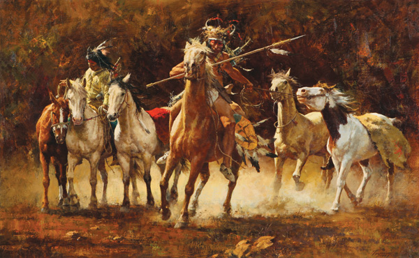 Howard Terpning, Captured Ponies, oil, 30 x 48, Scottsdale Art Auction.