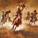 Howard Terpning, Mystic Power of the War Shield, oil, 40 x 52, Scottsdale Art Auction.