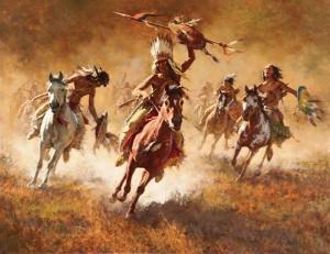 Howard Terpning, Mystic Power of the War Shield, oil, 40 x 52, Scottsdale Art Auction.