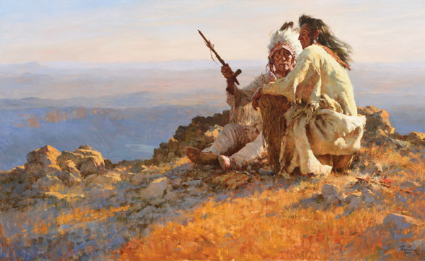 Howard Terpning, Telling of Legends, oil, 32 x 52, Coeur d'Alene Art Auction.