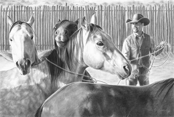Mary Ross Buchholz, The Day's Pick, charcoal/graphite, 18 x 27.