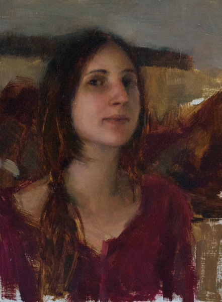 Timothy Rees, Brittany in Red, oil, 16 x 12.