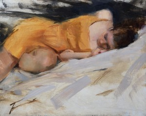 Timothy Rees, The Orange Dress, oil, 8 x 10.