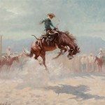 Olaf Wieghorst, Bronc Rider, oil, 20 x 24, Jackson Hole Art Auction.