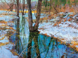Peter Fiore, Winter Stream, Late March, oil, 30 x 40.
