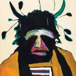 Fritz Scholder, American Portrait With Santa Fe Headdress (detail), oil, 40 x 30, Leslie Hindman Auctioneers.