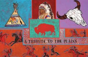 Amado Peña, A Tribute to the Plains, acrylic, 24 x 36.