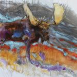 Amy Elizabeth Lay, Lavender Moose, oil, 30 x 40.