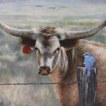 Barbara Rudolph, The Local Gossip, oil, 20 x 30.