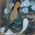 Lin Fengmian (1900-1991), Seated Lady and Dahlia, ink and color on paper, 26 x 26, MS Rau Antiques.