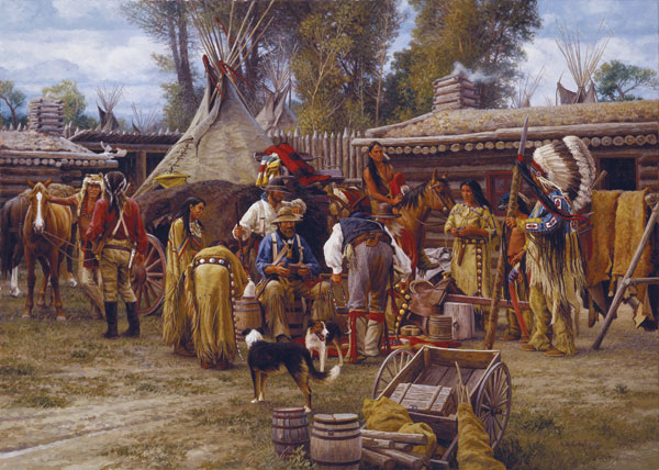 Karin Hollebeke | Trading Days at Bridger's Fort, 1843, oil, 20 x 28.