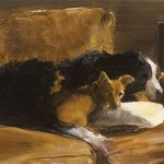 Bev Endsley, Dog Daze of Summer, oil, 14 x 18.