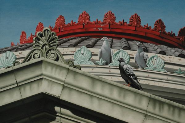 Robert Louis Caldwell, Feathered Finials (rock pigeons), oil, 24 x 36.