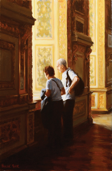 Pauline Roche, In the Gilded Hall, oil, 18 x 12.