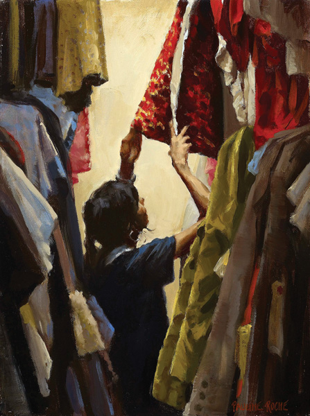 Pauline Roche, Reaching for the Costume, oil, 12 x 9.