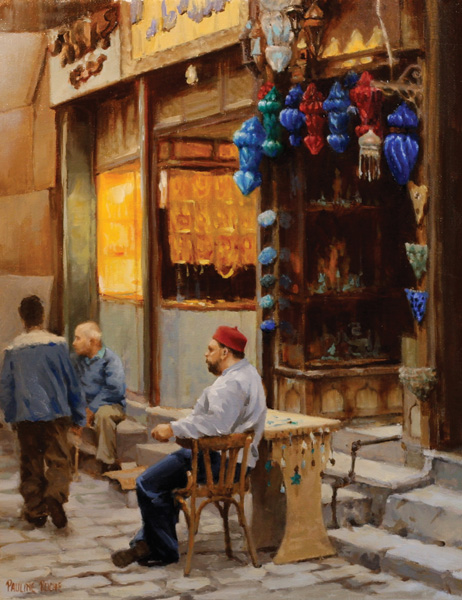 Pauline Roche, The Souvenir Merchant, oil, 12 x9.