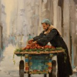 Pauline Roche, The Fruit Seller, oil, 19 x 9.