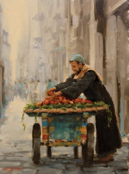 Pauline Roche, The Fruit Seller, oil, 19 x 9.