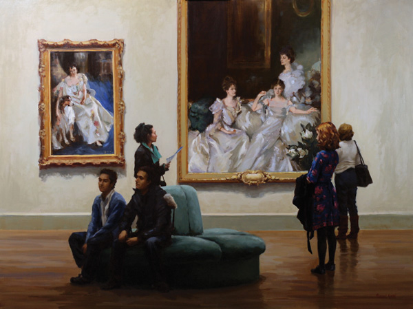 Pauline Roche, Afternoon in the Gallery of Masterworks, oil, 36 x 48.