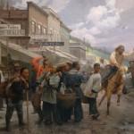 Mian Situ, The Newcomers, Deadwood, South Dakota, 1878, oil, 46 x 58.