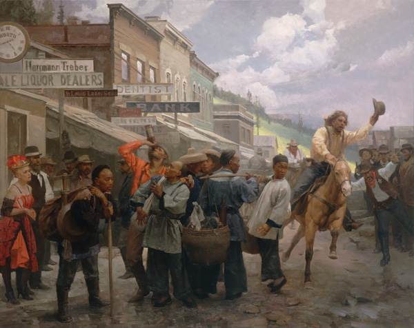 Mian Situ, The Newcomers, Deadwood, South Dakota, 1878, oil, 46 x 58.