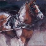Jill Soukup, Carriage Horse Paint, oil, 8 x 8.