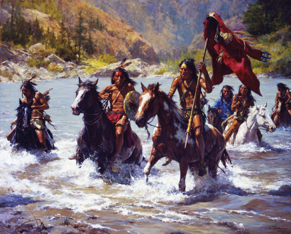 Howard Terpning, Capturing the Chief's Coat, oil, 40 x 50.