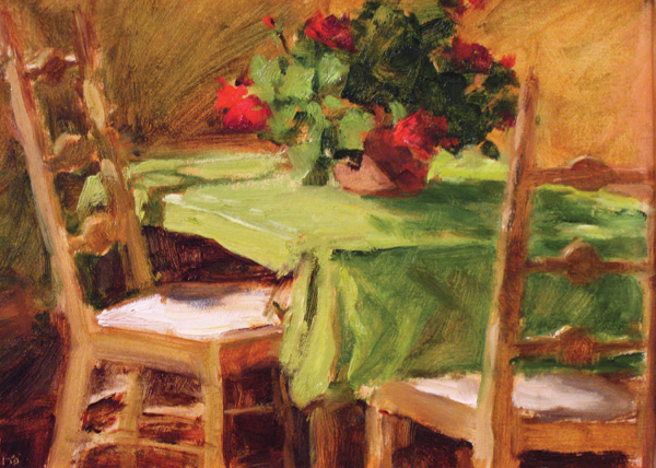 Teresa Vito, Morning Table, oil, 9 x 12