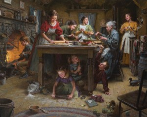 Morgan Weistling, Family Traditions, oil, 40 x 50.