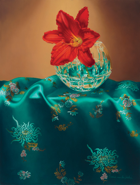 Sarah van der Helm, Day Lily and Silk, oil, 24 x 18.