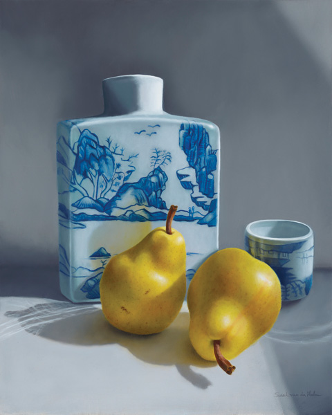 Sarah van der Helm, Pears with Sake, oil, 20 x 16.