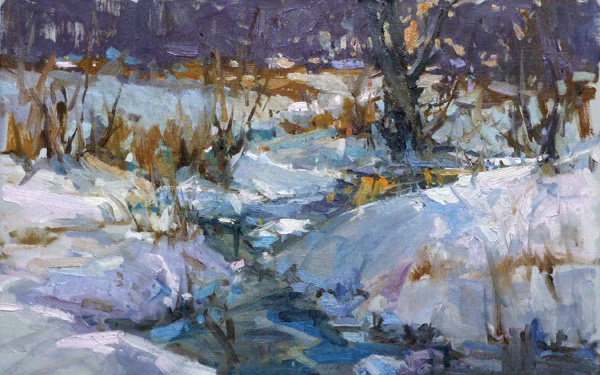 Lori Putnam, Snow Shadows, oil, 14 x 22.