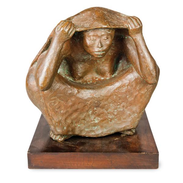 Francisco Zuniga, Seated Woman With Shawl, bronze, 10 x 9.